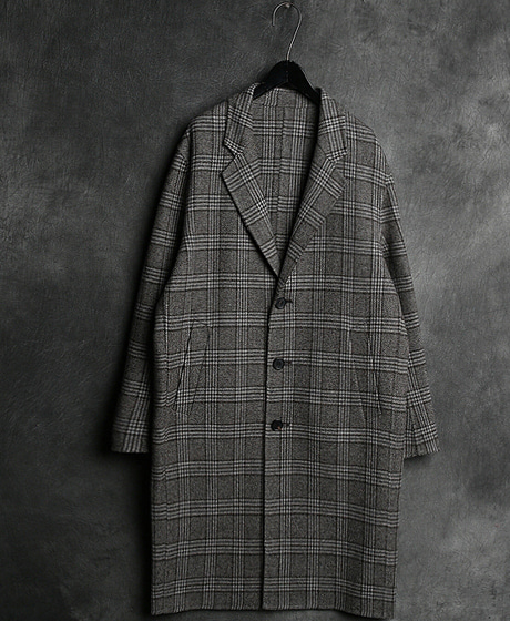 JK-7876T. CHECK PATTERN SINGLE HAND MADE COATT. 체크 패턴 싱글 핸드메이드 코트Color : 1 colorMaterial : wool