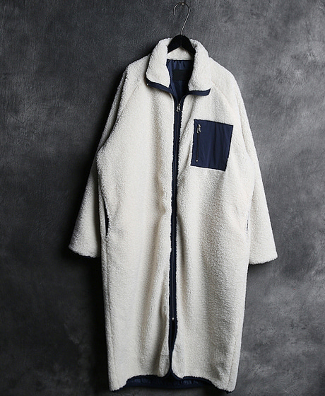 JK-8121COLOR SCHEME LONG JACKET배색 롱 자켓Color : 3 colorMaterial : fleece