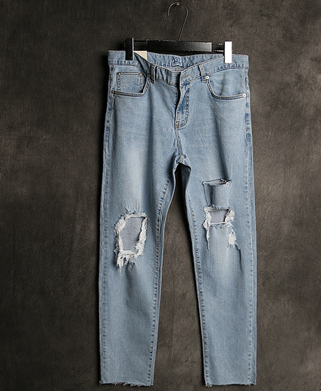 P-7859DAMAGED DENIM PANTS데미지 데님 팬츠Color : 1 colorMaterial : denim
