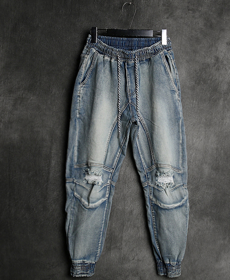 P-7684DAMAGED WASHING DENIM JOGGER PANTS데미지 워싱 데님 조거 팬츠Color : 1 colorMaterial : denim