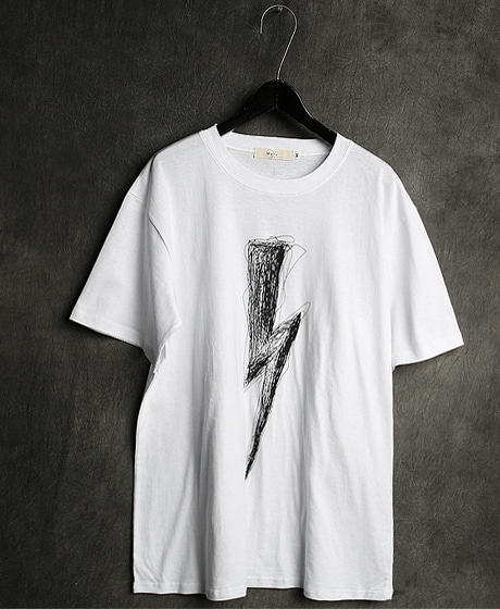 T-12989LIGHTNING PRINTING T-SHIRT번개 프린팅 티셔츠Color : 2 colorMaterial : cotton