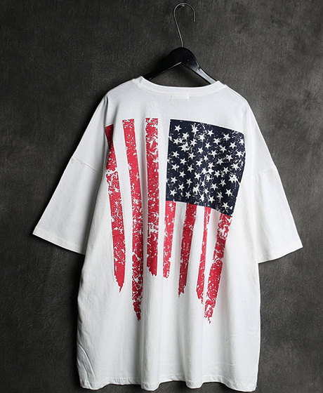 T-13118STARS & STRIPES PRINTING OVERSIZED T-SHIRT성조기 프린팅 오버사이즈 티셔츠Color : 2 colorMaterial : cotton
