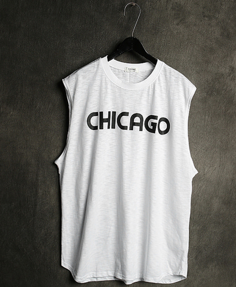 T-13113CHICAGO PRINTING NASI TEE시카고 프린팅 나시티Color : 2 colorMaterial : cotton