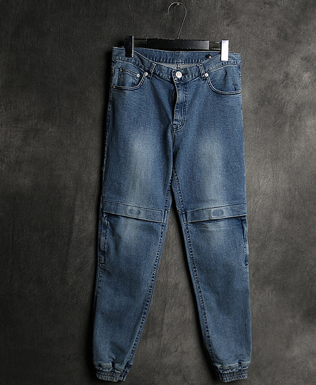 P-8074KNEE ZIPPER PATTERN DENIM JOGGER PANTS무릎 지퍼 패턴 데님 조거 팬츠Color : 2 colorMaterial : denim