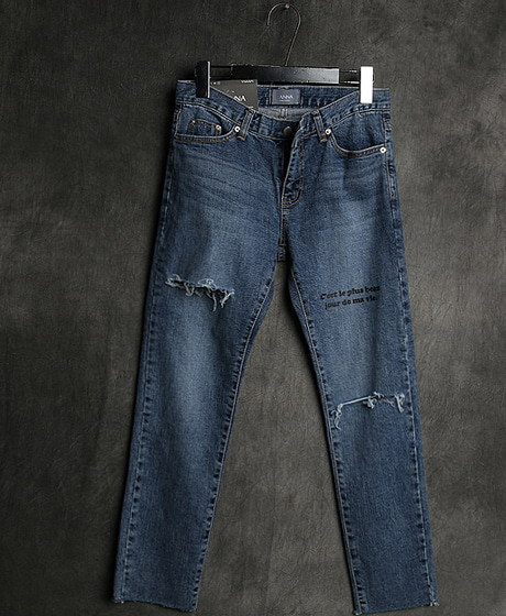 P-8009LETTERING DENIM PANTS레터링 데님 팬츠Color : 1 colorMaterial : denim