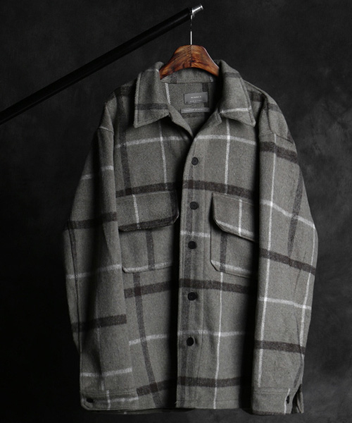 JK-14793check pattern wool jacket