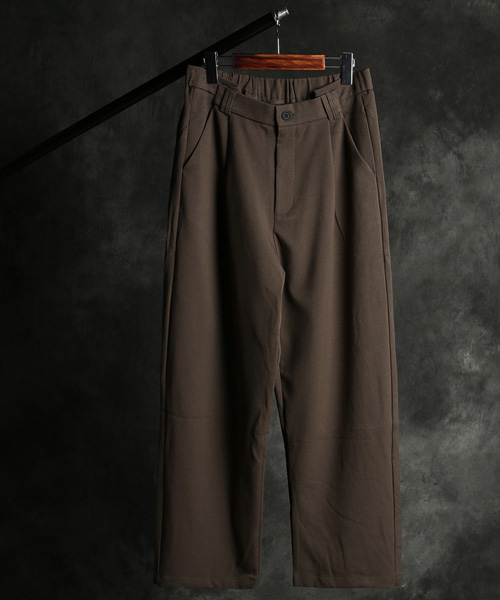P-10118banding pattern wide long pants