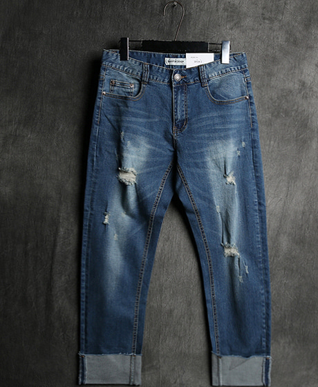 P-5555DAMAGED ROLL-UP DENIM PANTSColor : 1 colorMaterial : denim
