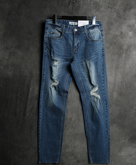 P-5558DAMAGED STRAIGHT DENIM PANTSColor : 1 colorMaterial : denim