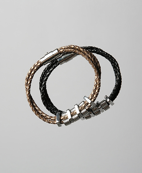 A-5146SPRING LEATHER BRACELETColor : 2 colorMaterial : leather