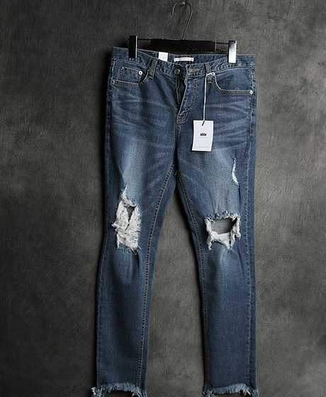 P-6088DAMAGED WASHING DENIM PANTSColor : 1 colorMaterial : cotton