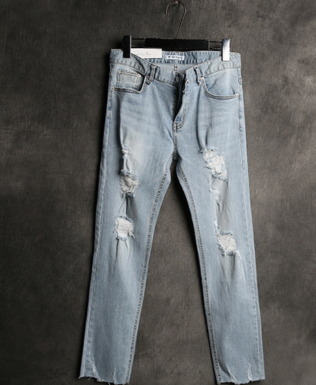 P-6091DAMAGED WASHING DENIM PANTSColor : 1 colorMaterial : cotton
