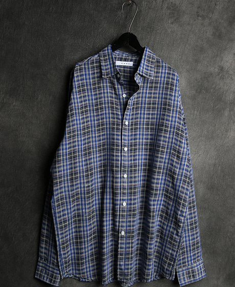 S-1464CHECK PATTERN REGULAR SHIRTColor : 1 colorMaterial : linen