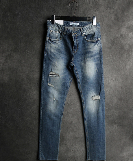 P-6450DAMAGED DENIM PANTS데미지 데님 팬츠Color : 1 colorMaterial : denim
