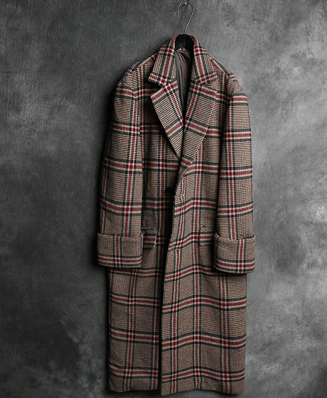 JK-7177WYM CHECK PATTERN OVERSIZED LONG COATWYM 체크 패턴 오버사이즈 롱 코트Color : 1 colorMaterial : wool