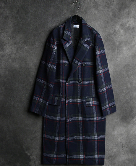 JK-7597B. CHECK PATTERN DOUBLE LONG COATB. 체크 패턴 더블 롱 코트Color : 1 colorMaterial : wool