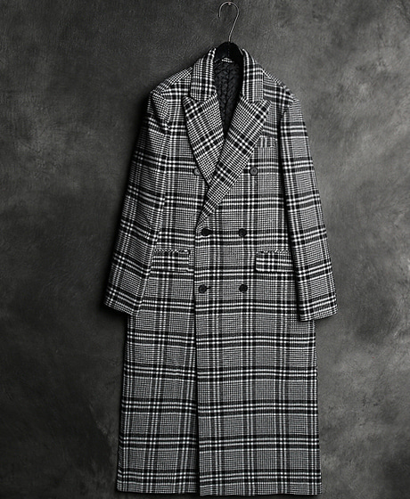 JK-7883B. INCISION LINE CHECK LONG COATB. 절개 라인 체크 롱 코트Color : 1 colorMaterial : wool