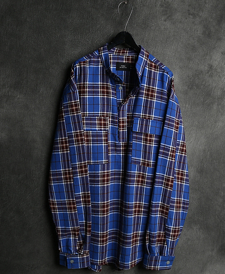 S-1835FOG CHECK PATTERN HANLEY NECK OVERSIZED SHIRT체크 패턴 헨리넥 오버사이즈 셔츠Color : 1 colorMaterial : cotton