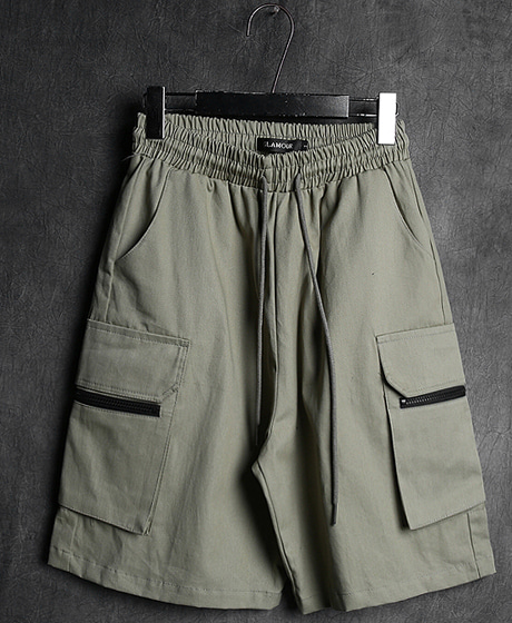 P-7267CARGO POKET ZIPPER HALF PANTS카고 포켓 지퍼 반바지Color : 2 colorMaterial : cotton