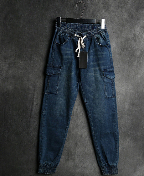 P-7822DENIM JOGGER PANTS데님 조거 팬츠Color : 1 colorMaterial : denim