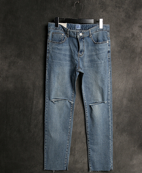 P-7858DAMAGED DENIM SLIM PANTS데미지 데님 슬림 팬츠Color : 1 colorMaterial : denim