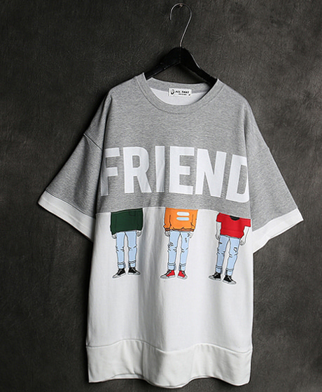 T-13075FRIEND PRINTING T-SHIRT프랜드 프린팅 티셔츠Color : 3 colorMaterial : cotton