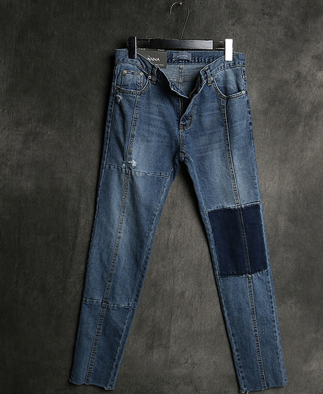 P-8011INCISION DENIM SLIM PANTS절개 데님 슬림 팬츠Color : 1 colorMaterial : denim