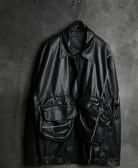 JK-9060HP LEATHER BIG POKET SCOTCH OVER FIT JACKETHP 가죽 빅 포켓 스카치 오버핏 자켓Color : 1 colorMaterial : leather