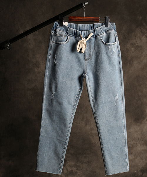 P-9582banding denim pants
