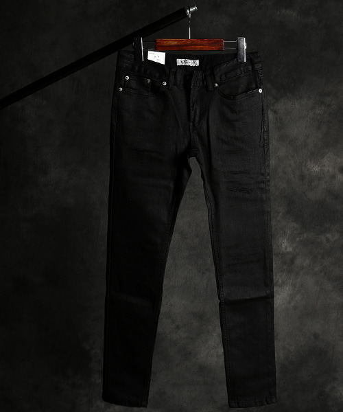 P-9718coating damaged denim pants