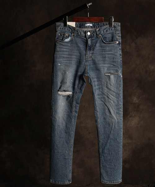 P-9856damaged washing denim pants