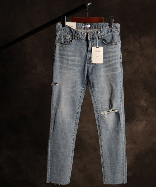 P-9855damaged washing denim pants
