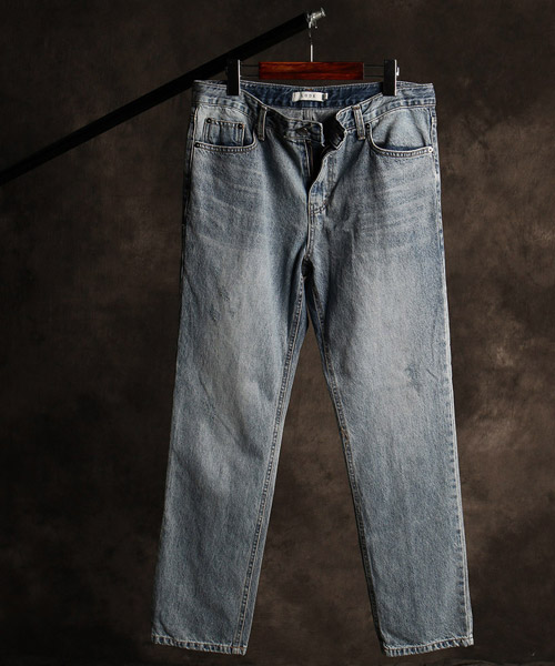 P-9848back incision denim pants