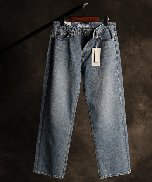P-10869vintage washing denim straight pants